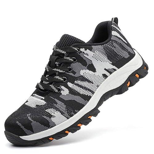 Axcer Hombre Zapatillas de Seguridad con Puntera de Acero Antideslizante S1P Zapatos de Trabajo Comodas Calzado de Trabajo Deportivos Botas de ...
