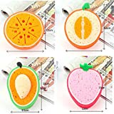 Dealglad New Cute Strawberry Orange Mango Cantaloupe Fruit Shape Thicken Kitchen Bowl Pan Dish Washing Cloth Cleaning Towel Sponge Scouring Pad (4pcs/set)