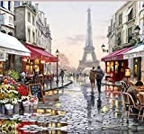 5D Diamond Painting Kit Eiffel Tower Paris- Cross Stitch Kits Embroidery Box for Kids, Adults| Full Drill DIY Crystals Arts & Crafts, Resin Diamonds Tools| Fun Easy Activities for Beginners (Large)