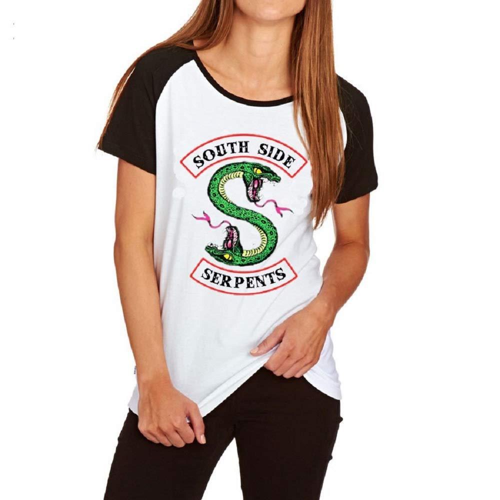 QQI Maglietta Donna Manica Corta Girocollo Casual Cuciture in Bianco e Nero Cotone Stampa Sciolto Top Riverdale-South Side Serpents Estate Confortevole SportiveTee Shirt