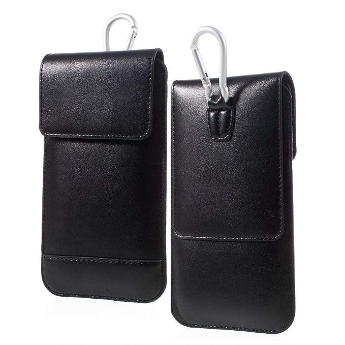 DFV mobile - Gürtel-Fall-Abdeckung Etui Hülle Vertikale mit Doppeltasche für => DOOGEE Y6 Piano Black > Schwarz