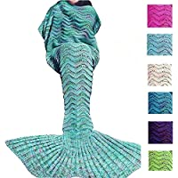 KAZOKU Crochet Mermaid Tail Blanket for Adult,...