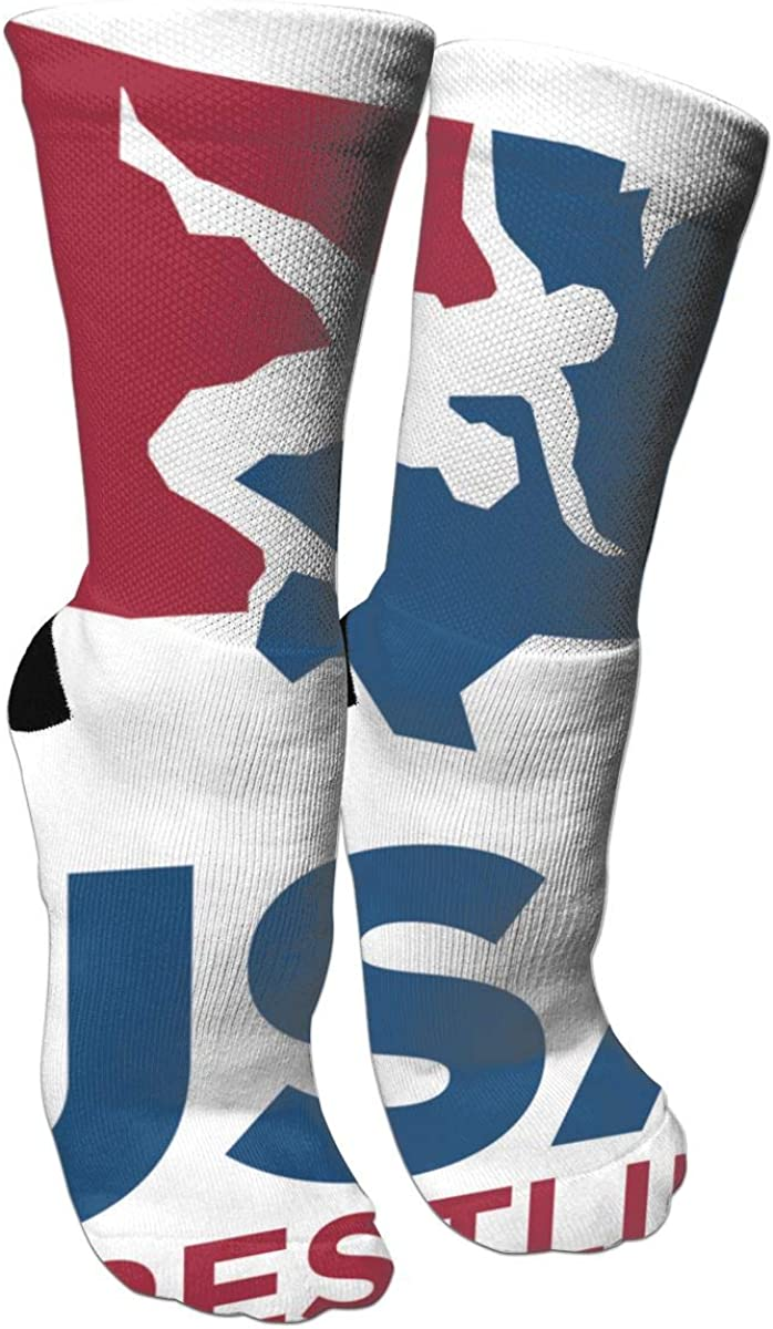 USA Wrestling Unisex Long Cotton Compression Socks With Funny Patterned For Ski, Softball And Hockey Athletic