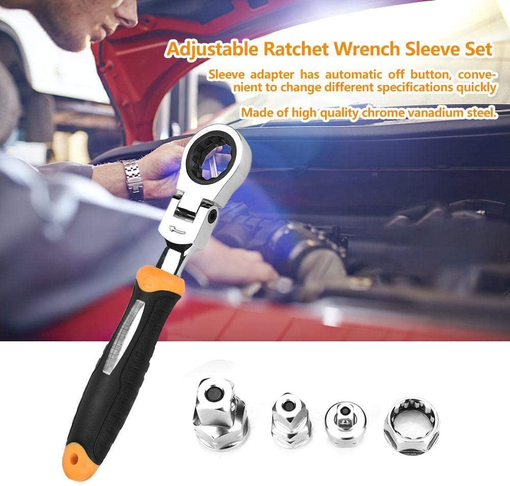 5Pcs RTW-5 1//4 3//8 1//2 CR-V Adjustable Wrench Sleeve Set Ratchet Wrench Sleeve Set for Manufacturing,Auto Repair,Construction Wrenches YYONGAO Repair Tools Ratchet Wrench