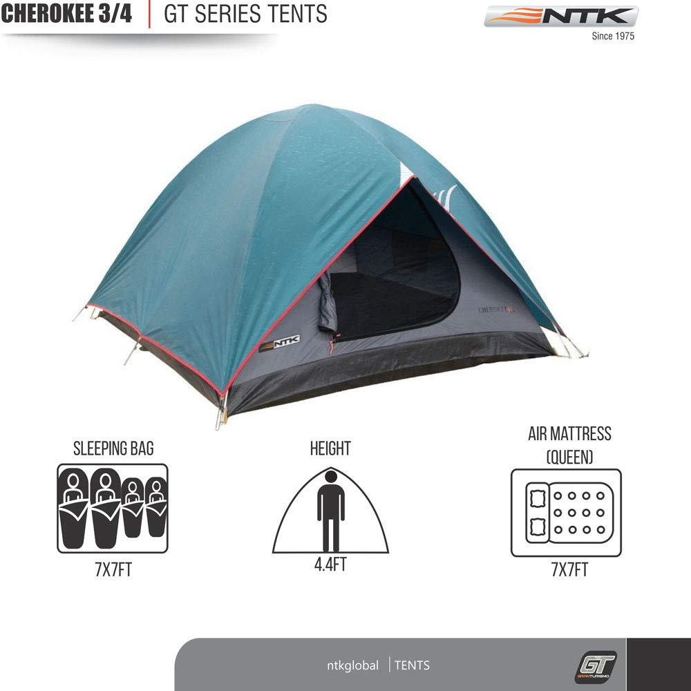 NTK Cherokee GT 3 to 4 Person 7 by 7 Foot Sport Camping Dome Tent 100 Waterproof 2500mm