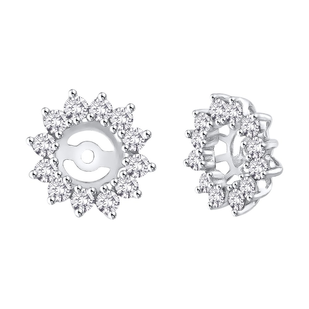 KATARINA Diamond Floral Earring Jackets in 14K White Gold (1 cttw) (Color GH, Clarity I2-I3)