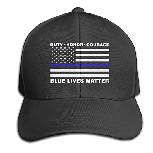 Amazon.com  Nak50 Cap  Blue Lives Matter Police Blue Line Us Flag Black  Snapback Baseball Cap Adult  Sports   Outdoors 87f0b7a04af