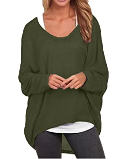 6e287ed77ad7e ZANZEA Women s Batwing Long Sleeve Off Shoulder Loose Oversized Baggy Tops Sweater  Pullover Casual Blouse T