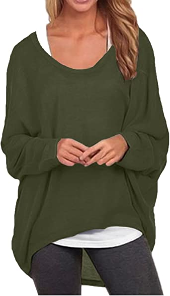 Long Casual Top Sleeve Baggy Women Plus Loose Pullover T-shirt Size Tunic Jumper