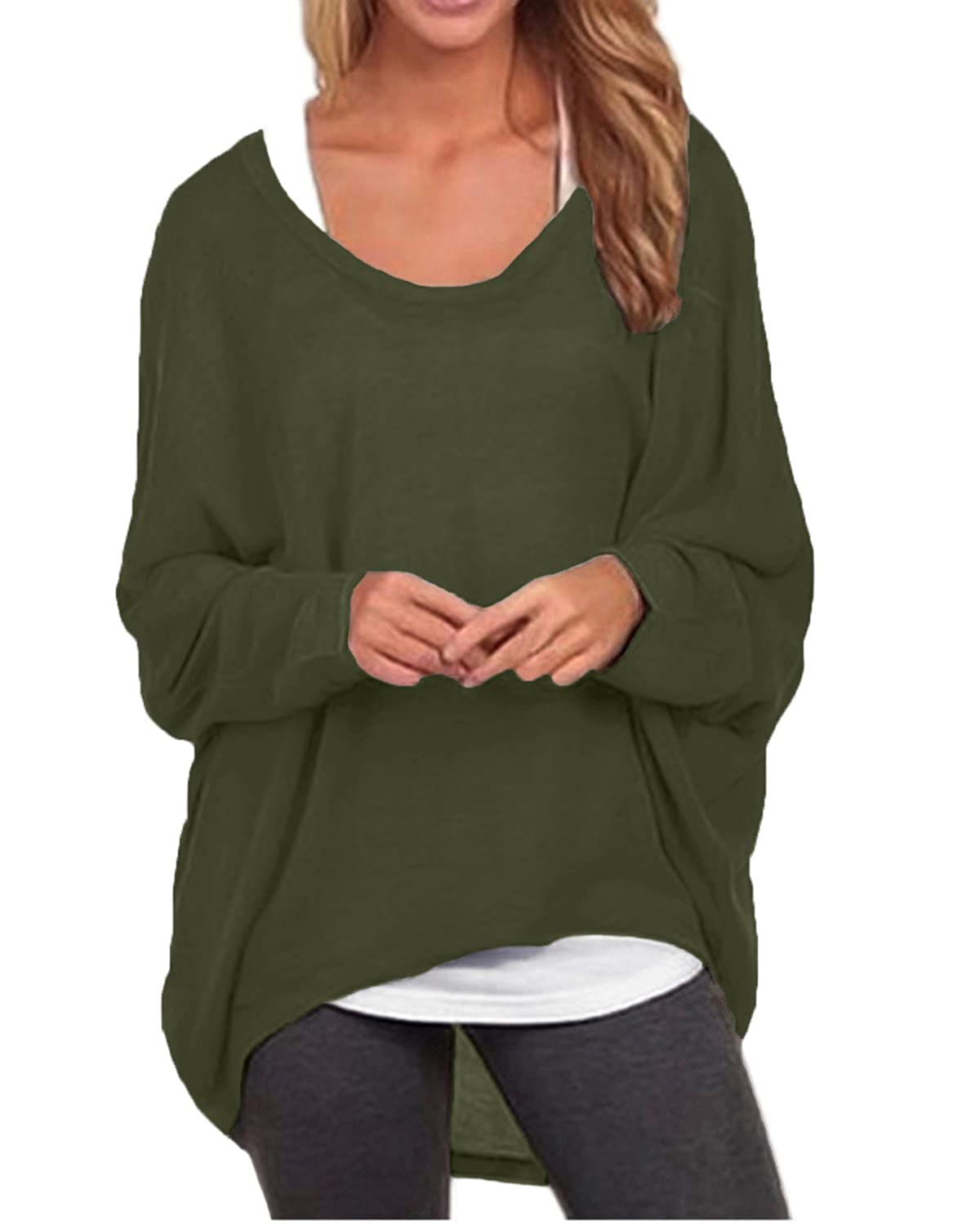 86cfa0dc6f9 ZANZEA Women's Batwing Long Sleeve Off Shoulder Loose Oversized Baggy Tops  Sweater Pullover Casual Blouse T-Shirt at Amazon Women's Clothing store: