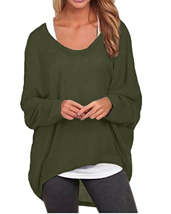 ab0791f8d71 ZANZEA Women s Sexy Long Batwing Sleeve Loose Pullover Casual Top Blouse T- Shirt Army Green