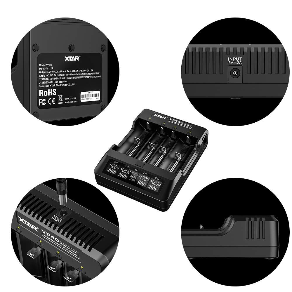 XTAR VP4C 18650 - Cargador de batería Universal con Pantalla ...