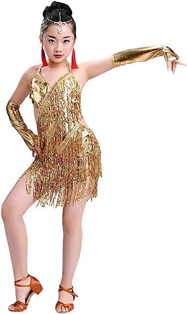 BOZEVON Vestido de Baile Latino para niñas Faldas de Cha Cha ...