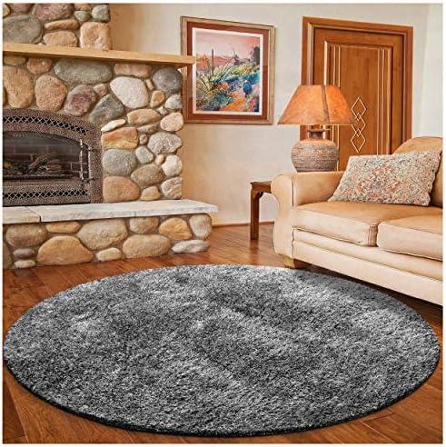 Superior Textured Shag Round Rug, Grey, 6 6