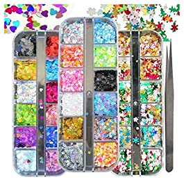 Holographic Nail Glitter Flakes Christmas Tree Snow Star Heart Laser Iridescent Nail Sequins Confetti Festival Chunky Glitters for XMAS, Cosmetic, Nail Art Design, Resin Craft (Pattern B)