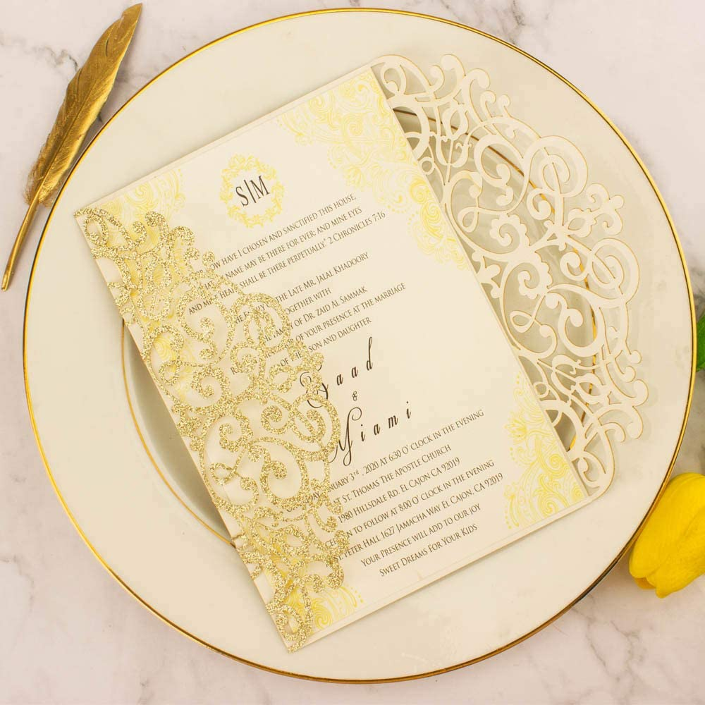 Amazon.com : 50Sets 5x7 inch 250gsm Light Gold Glitter Wedding Invitations  Cards with Envelopes Laser Cut Greeting invites 4 Birthday Bridal Show :  Office Products