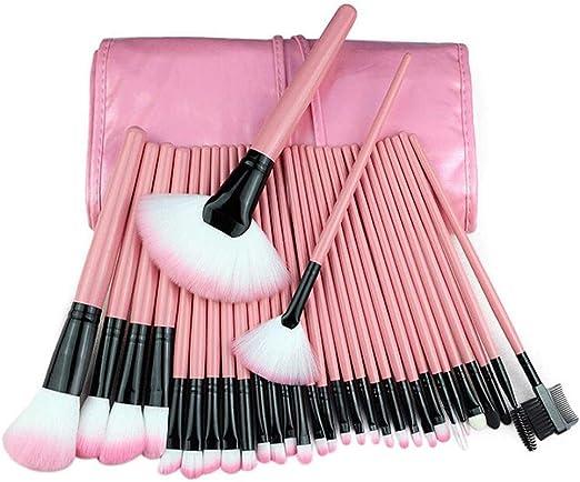 Brochas De Maquillaje 32 Piezas De Brochas Profesionales Para Maquillaje Kit Pala Pinceles CosméTicos Profesional Compone Fibra SintéTica Para Polvos Crema,Pink: Amazon.es: Hogar