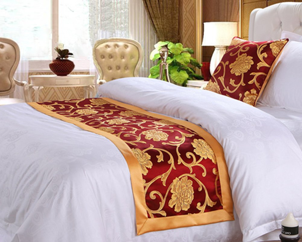 Frjjthchy Cotton Bedding Runner Beautiful Luxurious Bed End Scarf for Bedroom Hotel (Peony Style, 19.69 x 82.68 In)