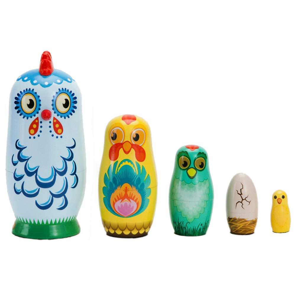 Coppthinktu 5Pcs Russian Nesting Dolls Wooden Matryoshka Authentic Russian Stacking Dolls Hand Painted Animals Pattern Babushka Dolls for Kids Toys Birthday Christmas New Year Wishing Gift