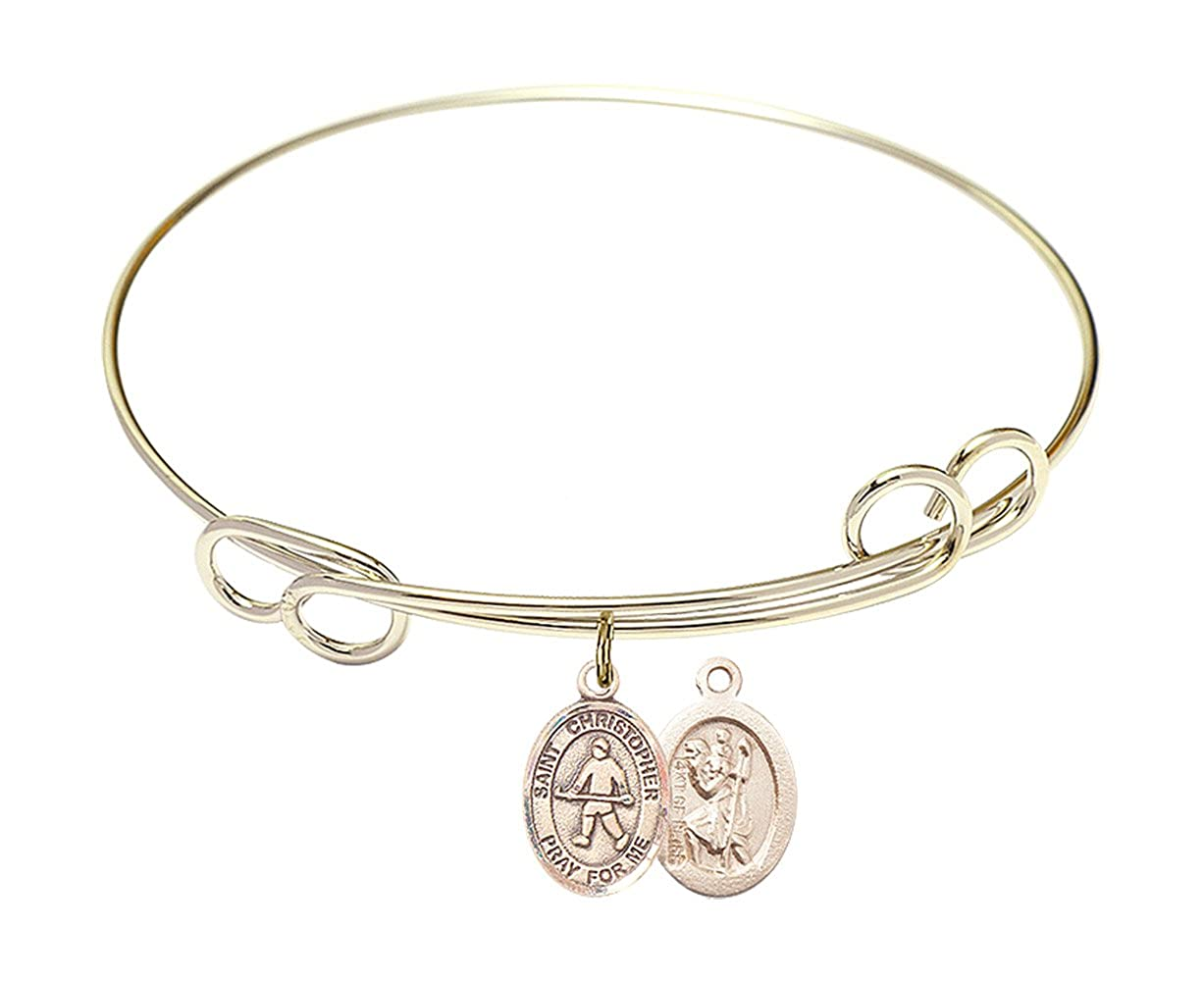 Christopher//Field Hockey Charm. DiamondJewelryNY Double Loop Bangle Bracelet with a St