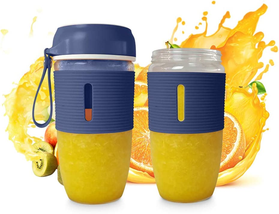 Portable Blender for Shakes and Smoothies Mixer 350 ML Two Cups of Mini Blue Personal Juicer Set with USB Rechargeable for Handmade Fruit or Vegetable Smoothie Suitable for Outdoor, Travel, Home, Personal Use and Sport