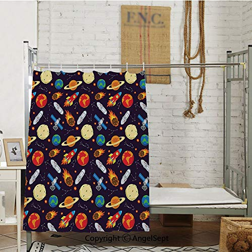 Universe Themed Illustration with Earth Moon Constellations Saturn Rockets Stars Decorative Bed Curtain (63