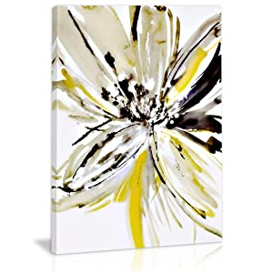 Black and White Yellow Abstract Flower Wall Art Decor Canvas Painting Kitchen Prints Pictures for Home Living Dining Room