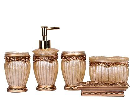 Accessori Bagno Marrone : Syndecho set accessori da bagno in resina portasapone