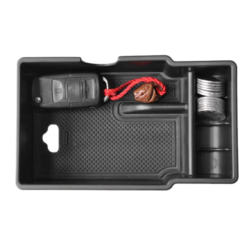 Black LITTOU Car Center Console Organizer Armrest Box Secondary Storage Box with Non-Slip Mat Compatible for Renegade 2015-2017
