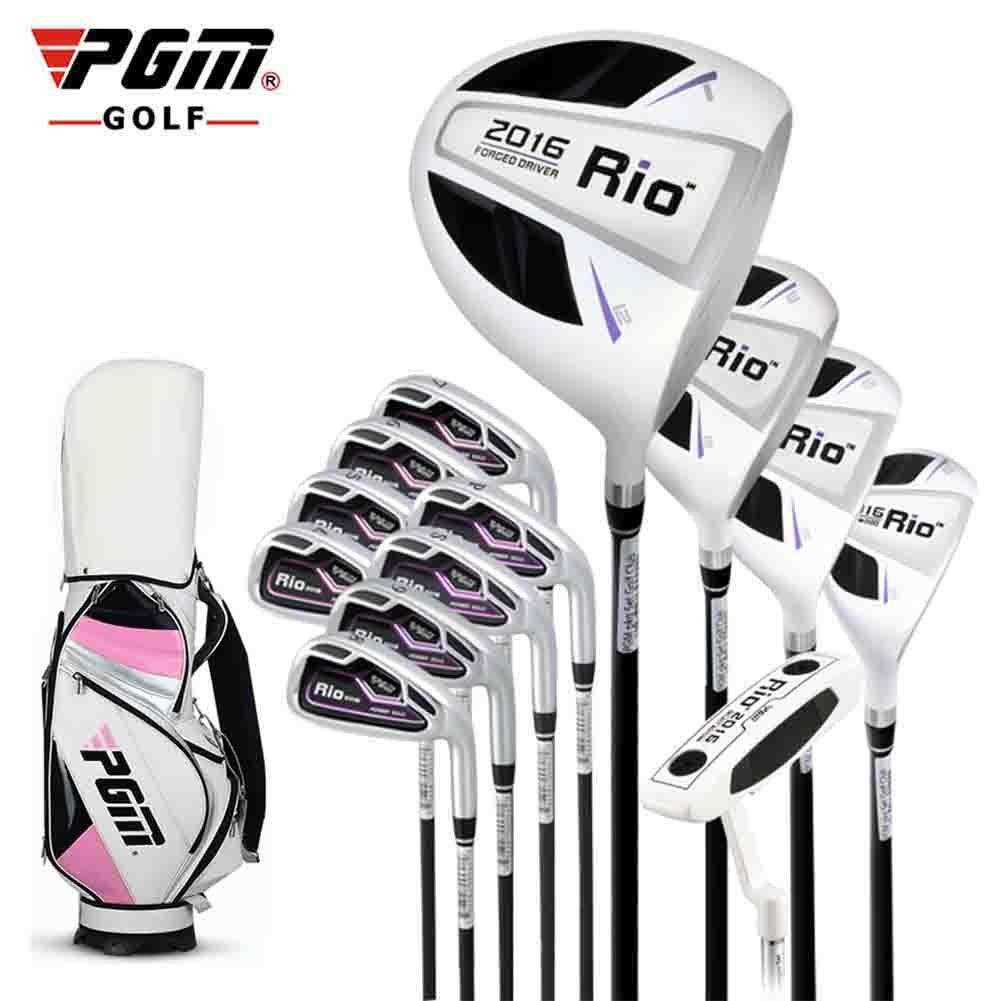 PGM 2016 Complete Rioゴルフクラブセットゴルフパッケージ、右利き、グラファイトシャフト( 1パターハイブリッド、3ウッズ、7アイアン、14 Headcovers、1、1サンドウェッジ、1ゴルフスタンドバッグ)  ホワイトピンク B01MDQO5TE