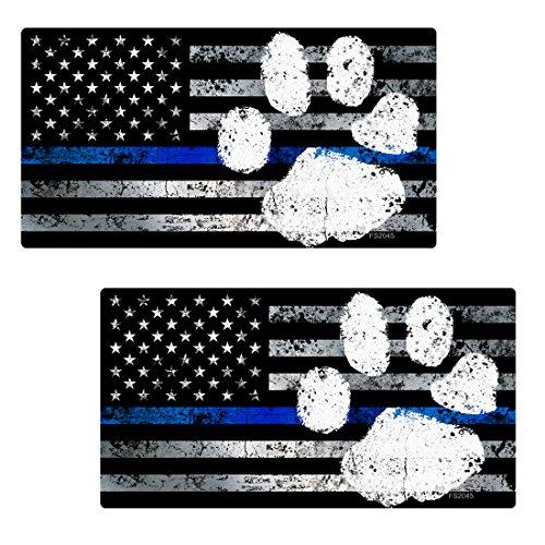 AZ House of Graphics Thin Blue Line PAW Flag Sticker 2 Pack #FS2045 Laminated Tattered Police Dog USA Vinyl Decal Lives Matter Car Truck Bumper Windshield Design ()