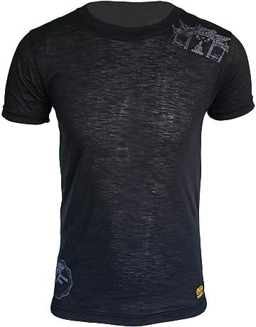 4Fighter Camiseta de Cuello Redondo Tissue en Color Negro con el Logotipo del Templo de Buda