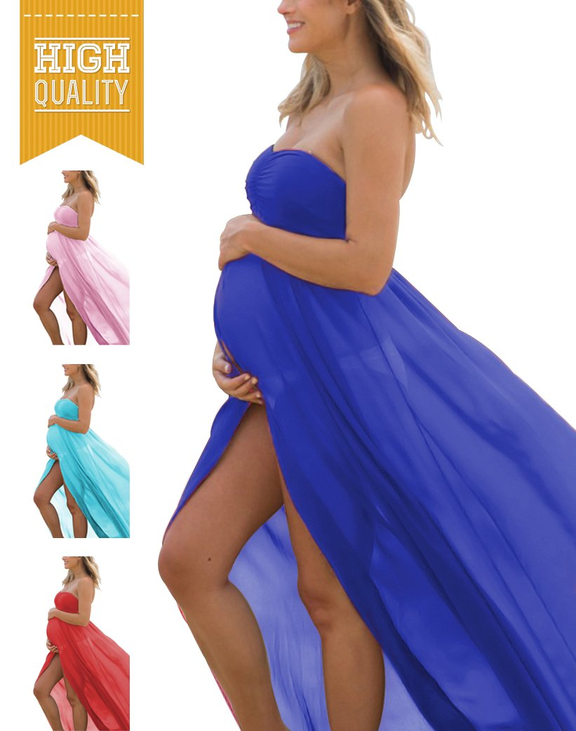 Maternity Summer Off Shoulder Tube Chiffon Gown Split Front Maxi Photography Dresses for Photo Shoot (A-Navy)