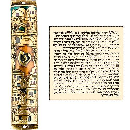 Talisman4U Large Gold Enamel MEZUZAH CASE with Scroll Jerusalem Israel Judaica Jewish Door Mezuza