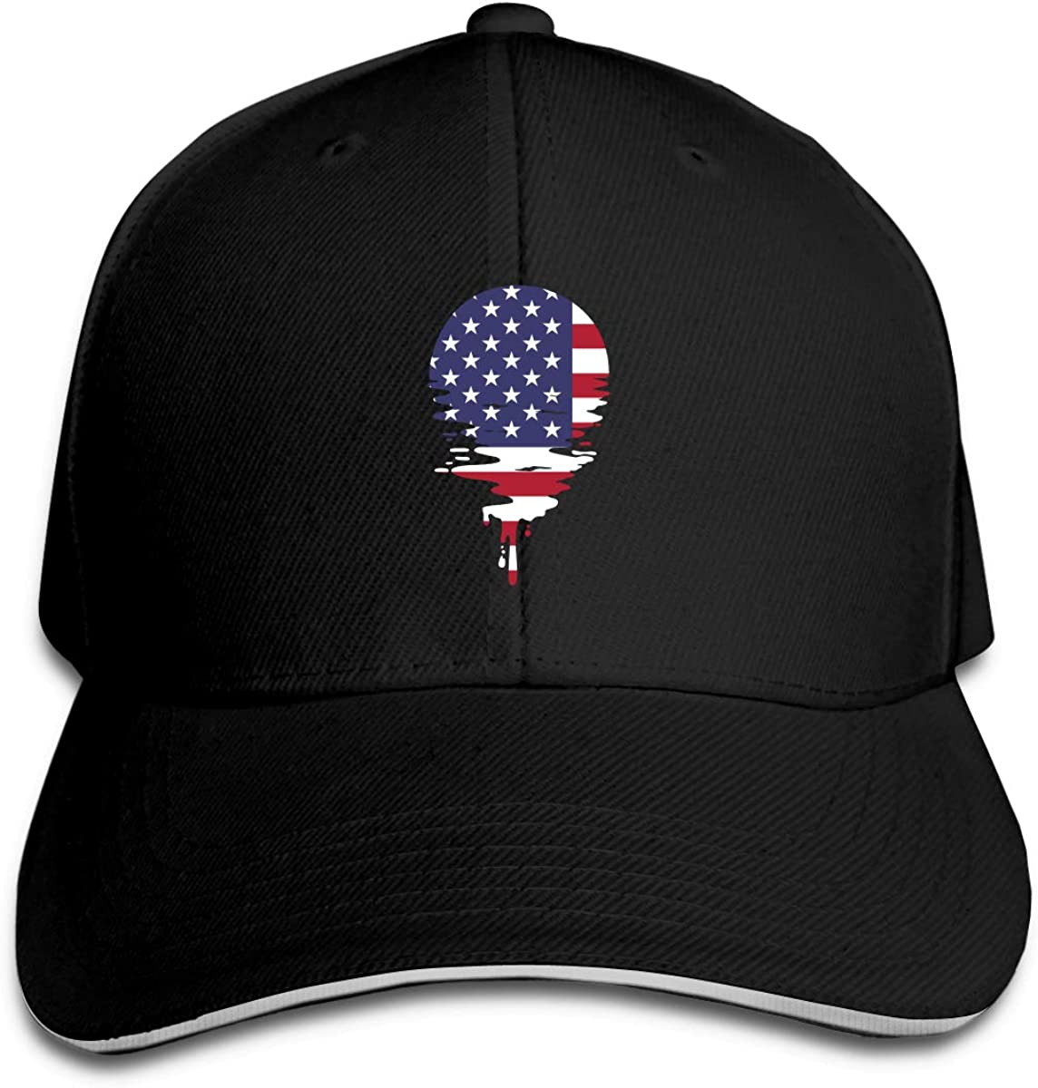 Sunset American Flag Outdoor Snapback Sandwich Cap Adjustable Baseball Hat Plain Cap