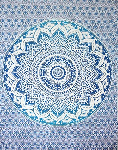 Hippy Mandala Bohemian Tapestries, Indian Dorm Decor, Psychedelic Tapestry Wall Hanging Ethnic Decorative Tapestry (Navy Blue)