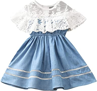Toddler Baby Girls Princess Party Dress Denim Dress Kids Lace Fashion Outfits
