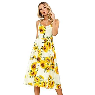 Midi De Strap Poches Bouton Avec Casual Femmes Robe Plage Dress Floral Swing Bohème Summer Bas Robes Spaghetti fg6v7IbYy