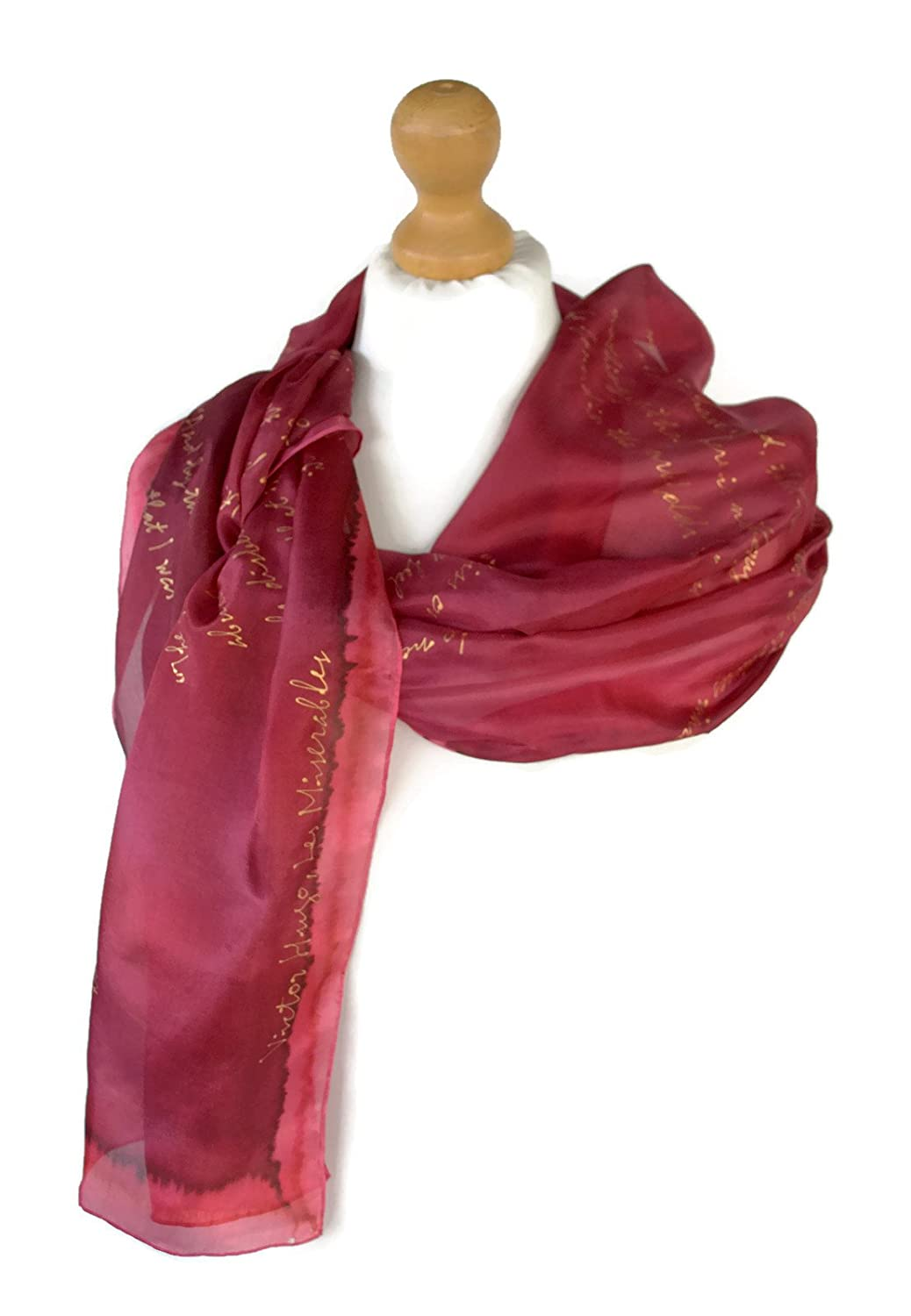 Maroon The Hunchback of NotreDame Victor Hugo Book Silk Hand Painted Scarf