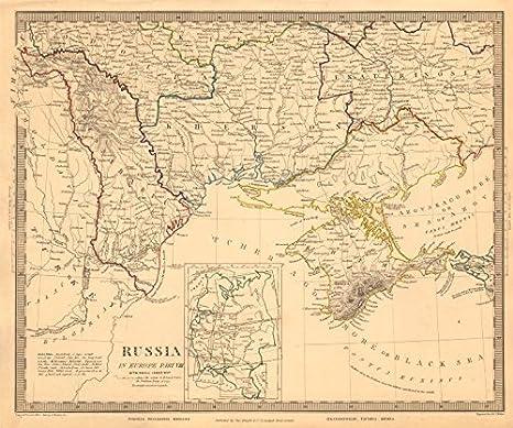 Cartina Geografica Russia Ucraina.Ucraina Moldova Podolia Bessarabia Kherson Taurida Crimea Odessa Sduk 1845 Stile Antico Con Motivo Cartina Geografica Ucraina Amazon It Casa E Cucina