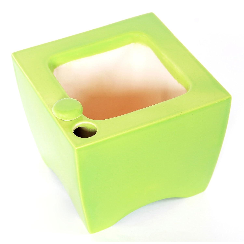 Amazon Com Oasis Ceramic Self Watering Planter Square Green