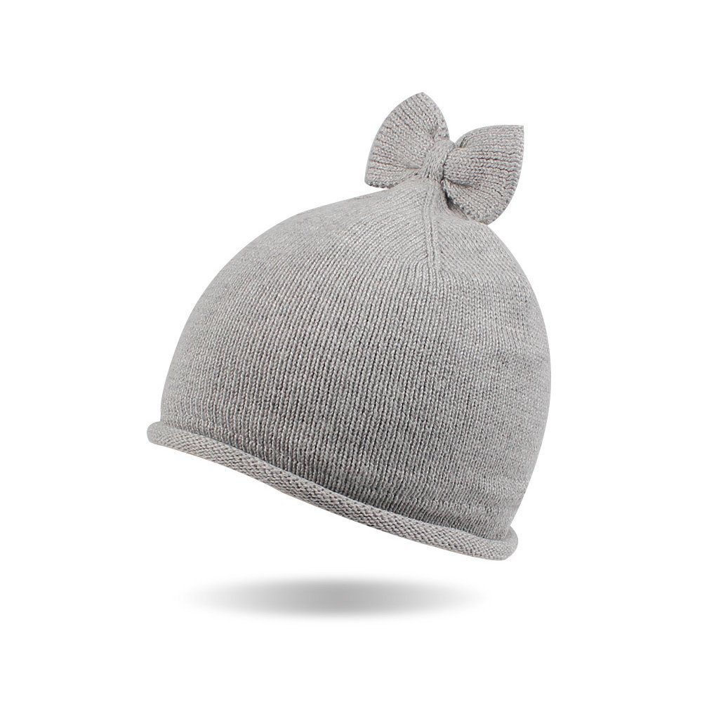 Kasular Baby Toddler Knit Beanie Cap Winter Warm Infant Girls Soft Hat Cotton Lined with Bowknot (Gray, 1-2 Y)