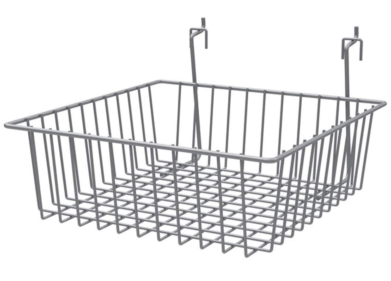 Multi Basket Slatwall Gridwall Pegboard Slatgrid 12'' W x 12''D x 4''H Retail Display Fixture Silver Lot of 8 New