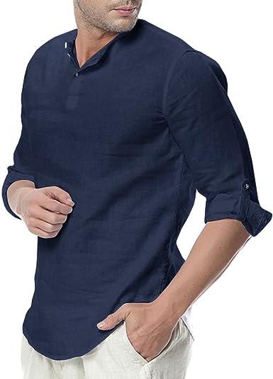 Feel Show - Camisa de Playa para Hombre de Lino sin Cuello Henley de Manga Larga 3/4 con un Cuarto de Botones - Azul Marino - X-Large: Amazon.es: Ropa y accesorios