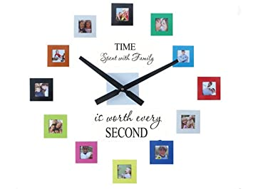 Sentiment Photo Mute DIY Large Wall Clock 3D Sticker Home Office Decor  Gift,Decal And
