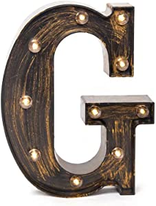 Glintee LED Marquee Letter Lights Wall Decoration Vintage Style Light Up 26 Alphabet Letter Signs for Wedding Birthday Party Christmas Home Bar Cafe Initials Decor(G)