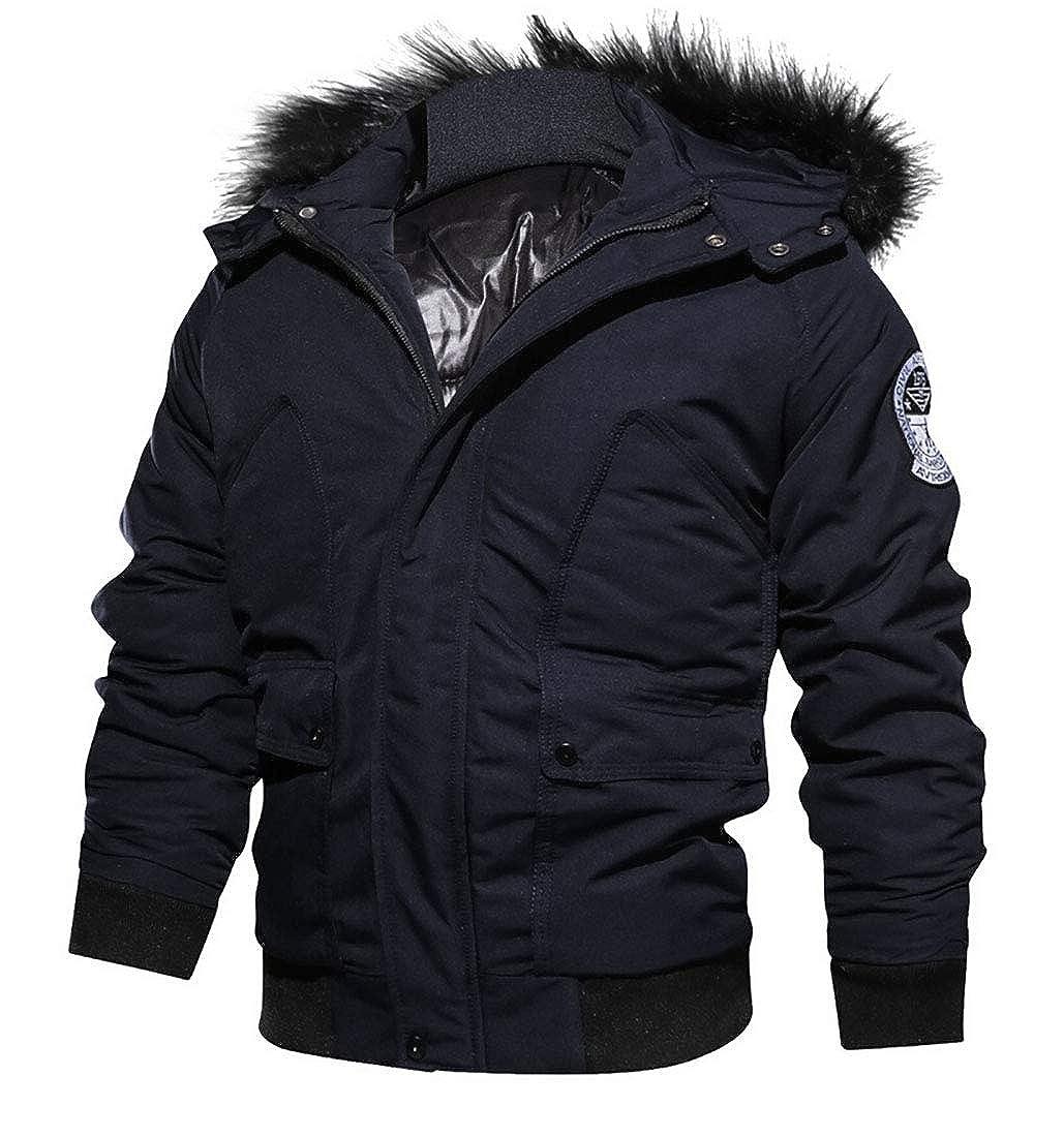 Keaac Mens Men/'s Winter Outdoor Puffer Half Zip Thicken Down Jacket Faux Fur Hood Coat Coat
