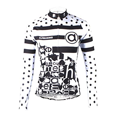 ILPALADINO Women s Cycling Jersey Long Sleeve Biking Shirts Black and White  ... c26d8579b