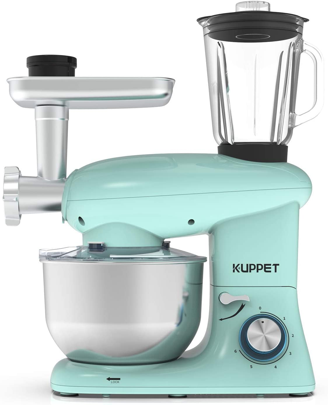 KUPPET 3 in 1 Stand Mixer, 6 Speed Electric Mixer, Tilt Head Kitchen Mixer with Meat Grinder and Juice Blender, 6 Quarts 850W Food Mixer - Blue