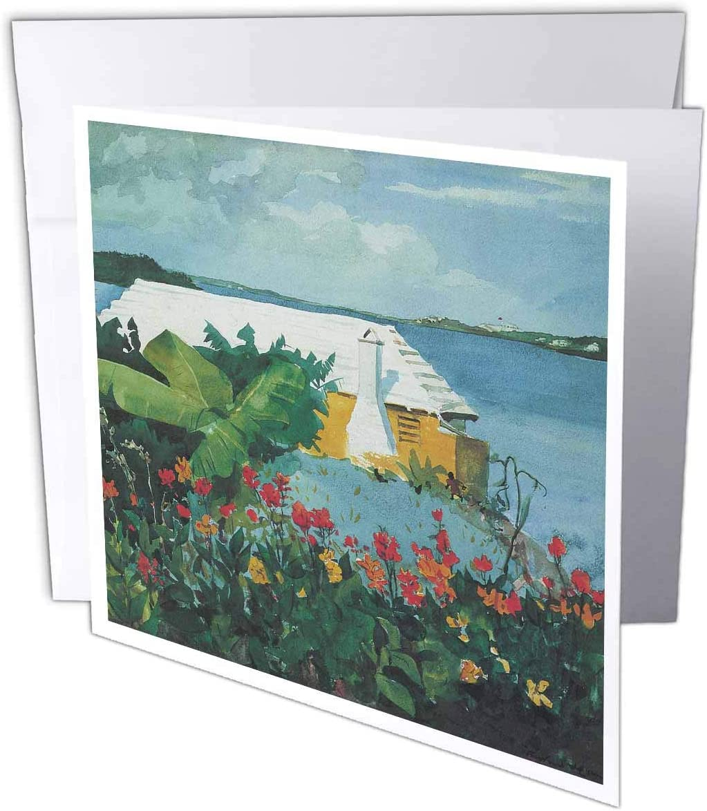 3dRose Flower Garden and Bungalow in Bermuda Ocean Landscape - Greeting Cards, 6 x 6 inches, set of 12 (gc_126478_2)